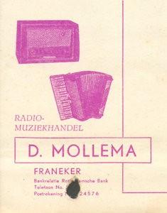 kaartje radio-muziekhandel D. Mollema
